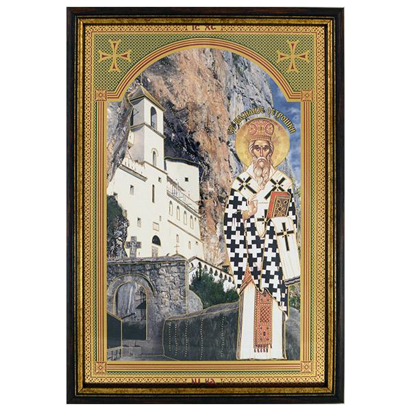 Sveti Vasilije Ostroški sa manastirom (33x21) cm