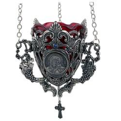 Metalno kandilo sa likom Bogorodice i krsta